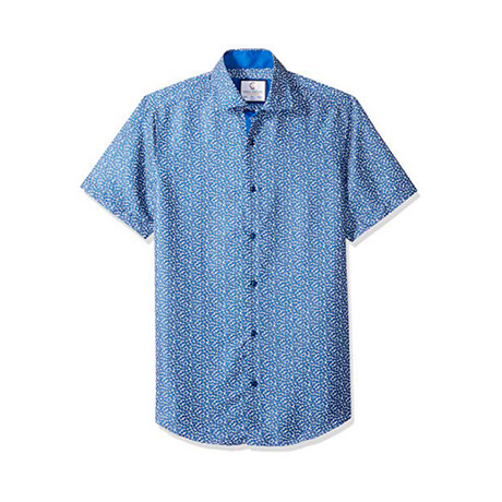 Freddie Short-Sleeve Casual Button Down Shirt // Blue (XS)