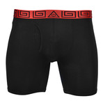 "Sheath V 8"" Sports Performance Boxer Brief // Red + Black (X-Large)"