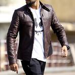 Base Burner Leather Jacket // Burgundy (M)