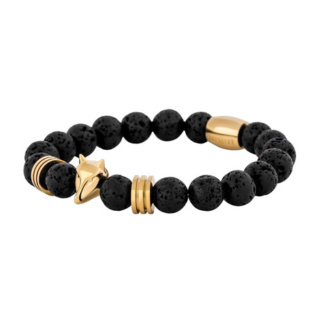 "Obsidian Beaded Bracelet // Gold + Black Lava (7"")"