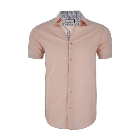Henry Short-Sleeve Button-Up Shirt // Peach (XS)
