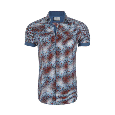 Andrew Short-Sleeve Button-Up Shirt // Blue + Red (XS)
