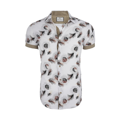Christopher Short-Sleeve Button-Up Shirt // White (XS)