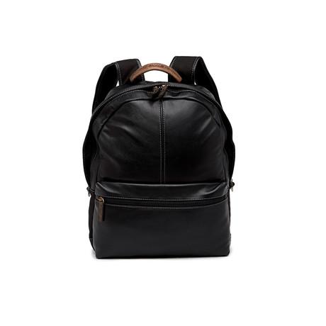 Garth Pebble Grain Leather Backpack (Black)