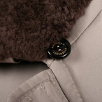 Elrond Shearling Fur Collar Leather Jacket // Brown + Taupe (M)