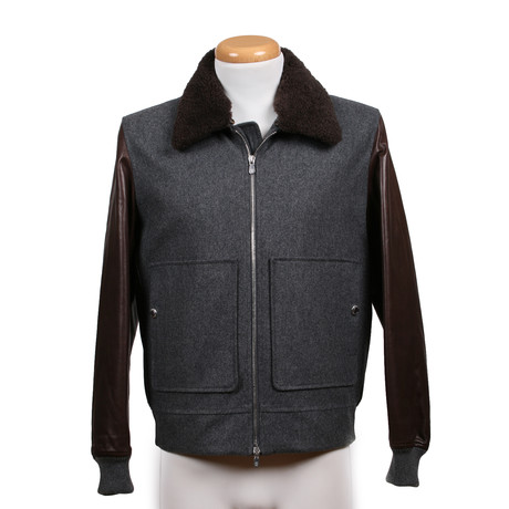 Dwalin Shearling Fur Collar Leather + Wool Jacket // Brown + Gray (XS)