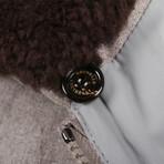 Shearling Fur Collar Wool Jacket // Gray (XS)