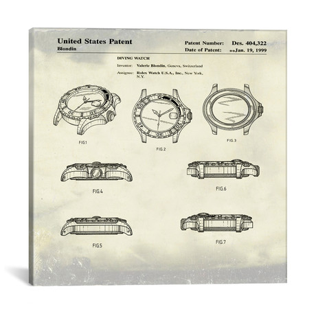 "Valerie Blondin (Rolex) Diving Watch Patent Sketch // Bill Cannon (18""W x 18""H x 0.75""D)"