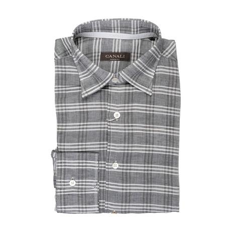 Plaid Slim Fit Shirt // Gray (XS)