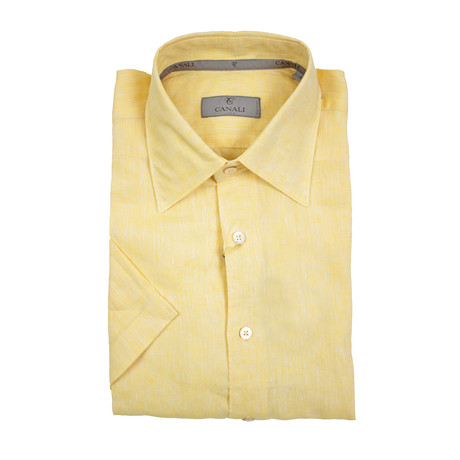 Solid Modern Fit Short Sleeve Shirt // Yellow (XS)