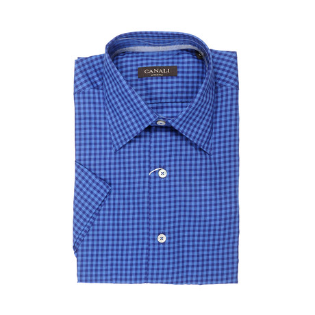Slim Fit Short-Sleeve Plaid Shirt // Blue (XS)