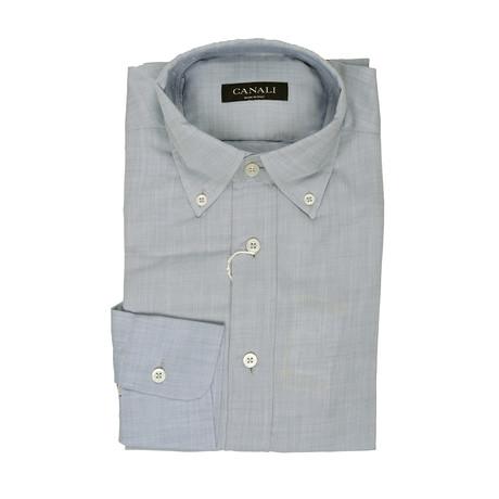 Solid Dress Shirt // Gray + Blue (XS)