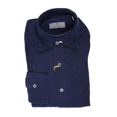 Slim Fit Corduroy Shirt // Navy (XS)