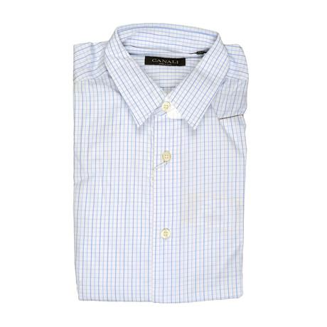 Regular Fit Check Dress Shirt // Blue + White (Euro: 39)