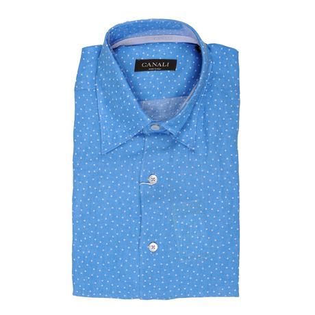 Slim Fit Polka Dot Linen Shirt // Blue (XS)