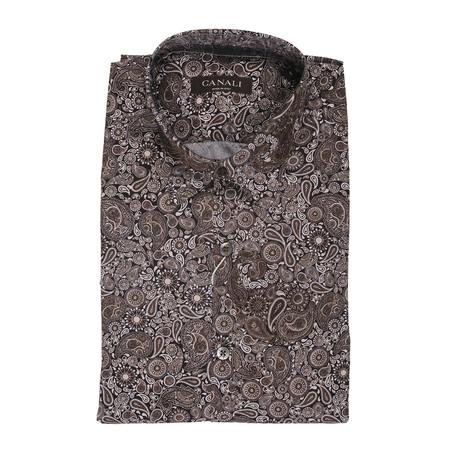 Slim Fit Paisley Shirt // Brown (XS)