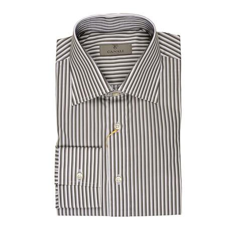 Regular Fit Stiped Shirt // Gray + Multicolor (XS)