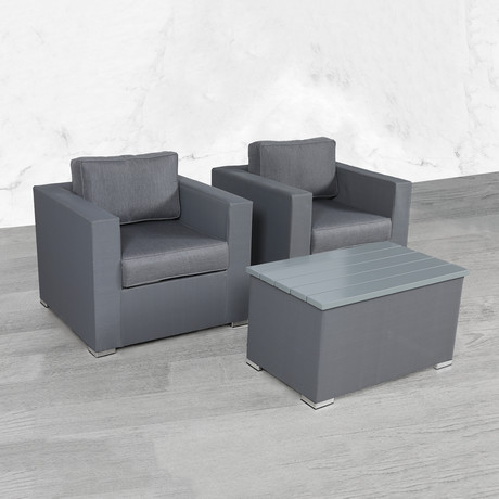Resort Grade Mesh Club Chair Coffee Table Set // 3 Pc