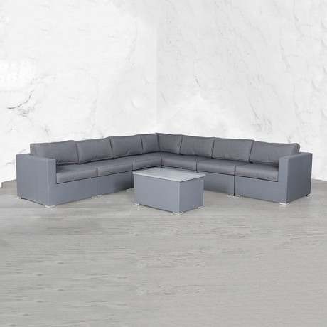 Resort Grade Mesh Modular L Shape Sectional // 8 Pc