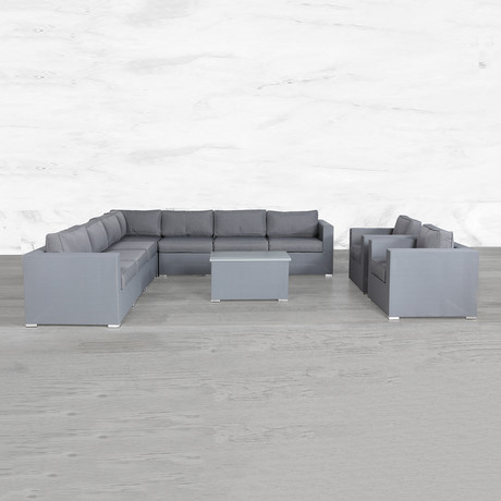 Resort Grade Mesh Modular L Shape Sectional Double Club Set // 10 Pc