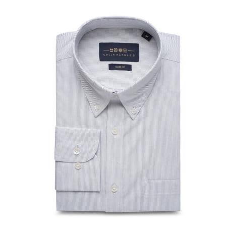 Striped Pocket Button Down Shirt // White + Blue (S)