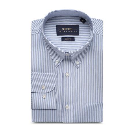 Striped Pocket Button Down Shirt // Blue + White (S)