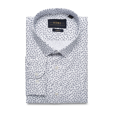 Pocket Patterned Button Up Shirt // White + Gray (S)