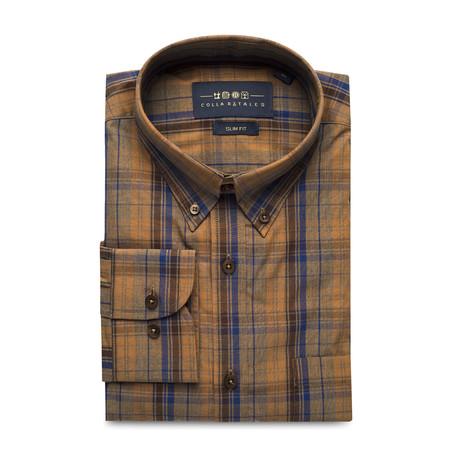 Checkered Pocket Button Down Shirt // Brown + Blue (S)