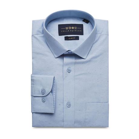 Pocket Patterned Button Up Shirt // Blue (S)