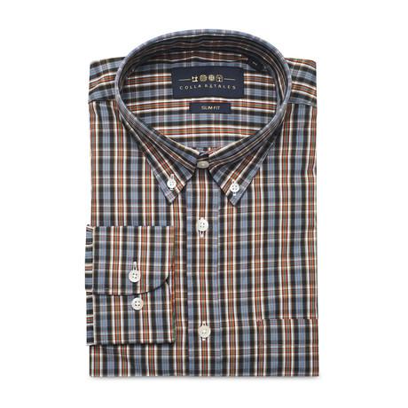 Checkered Pocket Button Down Shirt // Black + Lavender + Orange (S)