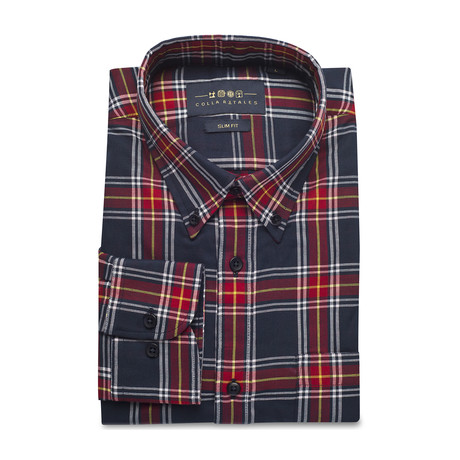 Checkered Pocket Button Down Shirt // Red + Navy (S)