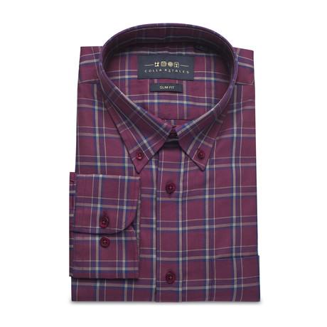 Checkered Pocket Button Down Shirt // Burgundy + Gray (S)