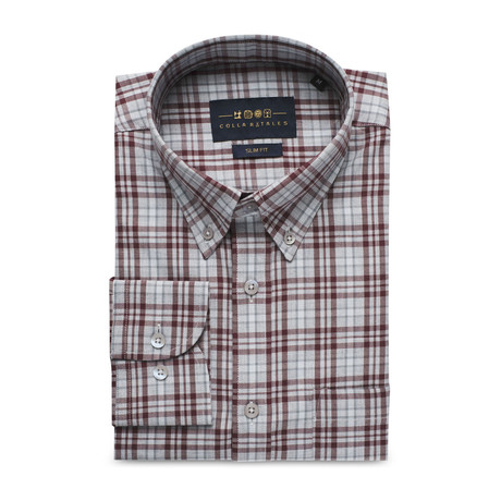 Checkered Pocket Button Down Shirt // Light Gray + Maroon Check (S)