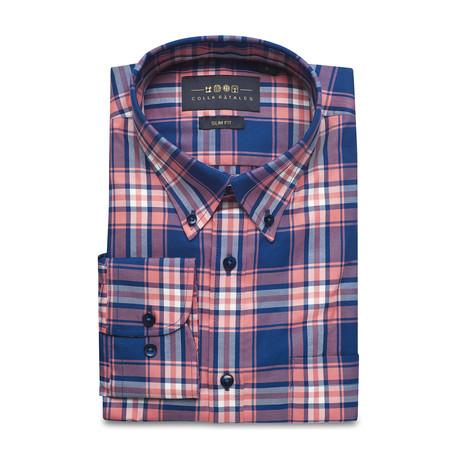 Checkered Pocket Button Down Shirt // Blue + Pink (S)