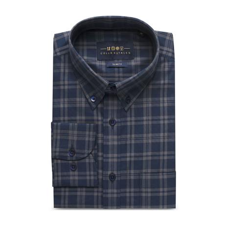 Checkered Pocket Button Down Shirt // Dark Blue + Gray Check (S)