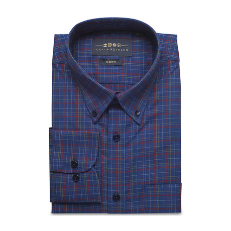 Checkered Pocket Button Down Shirt // Blue + Red (S)