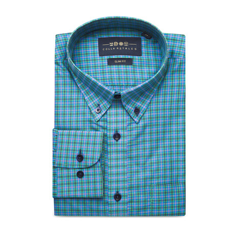Checkered Pocket Button Down Shirt // Green + Blue + Black (S)