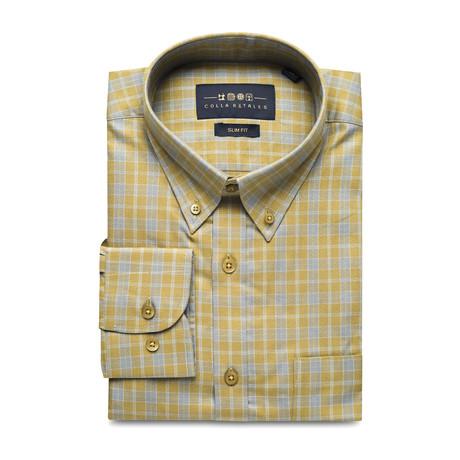 Checkered Pocket Button Down Shirt // Green + Gray (S)