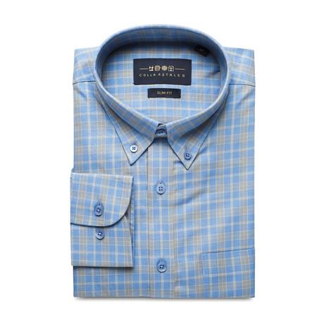 Checkered Pocket Button Down Shirt // Light Blue + Gray (S)