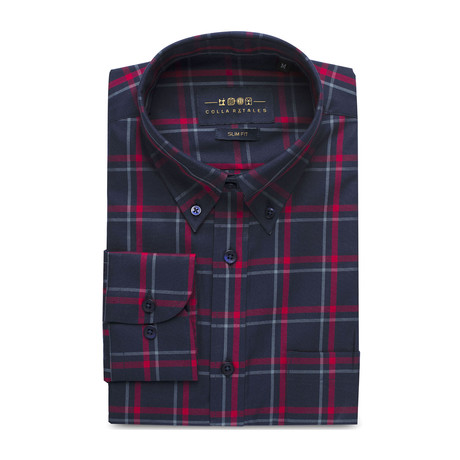 Checkered Pocket Button Down Shirt // Navy Blue + Red Check (S)