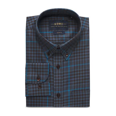Checkered Pocket Button Down Shirt // Dark Gray + Blue Check (S)