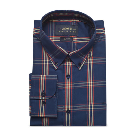 Checkered Pocket Button Down Shirt // Dark Blue (S)