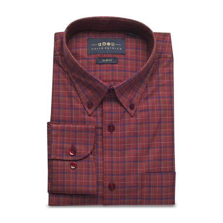 Checkered Pocket Button Down Shirt // Brown + Navy (S)