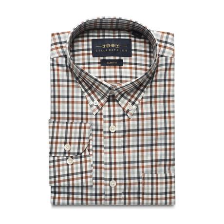 Checkered Pocket Button Down Shirt // Brown + Black + White (S)