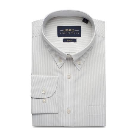 Striped Pocket Button Down Shirt // Gray + White (S)