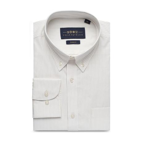 Striped Pocket Button Down Shirt // Dark Gray + White (S)