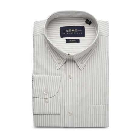 Striped Pocket Button Down Shirt // Light Gray + Off White (S)