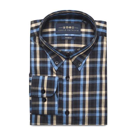Checkered Pocket Button Down Shirt // Black + Cream + Blue (S)