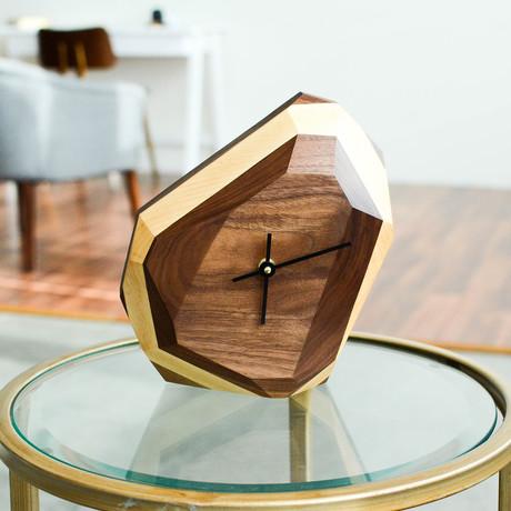 Geometric Wall + Table Clock (Maple + Walnut)
