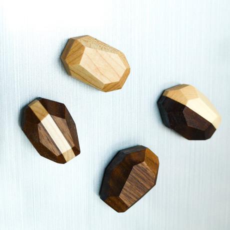Geometric Hardwood Magnets // Set Of 4